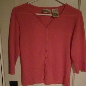 Kathie Lee Collection Womens Cardigan Salmon